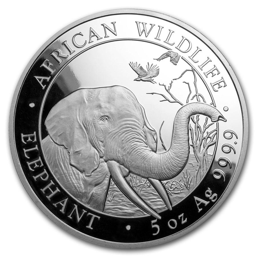 2018 Somalia 5 oz Silver Elephant BU