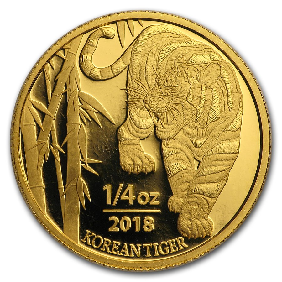 2018 South Korea 1/4 oz Gold Tiger BU (w/Box & COA)
