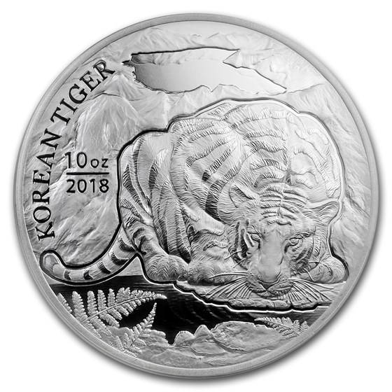 2018 South Korea 10 oz Silver Tiger BU