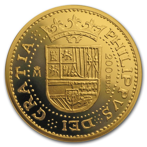 2018 Spain Proof Gold €200 150th Anniversary Spanish Escudos