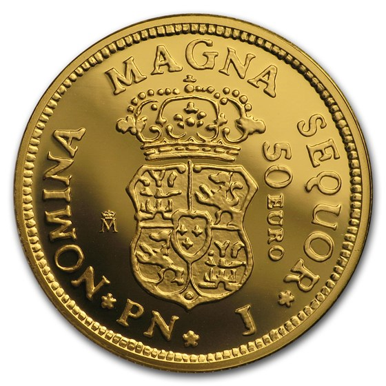 2018 Spain Proof Gold €50 150th Anniversary Spanish Escudos