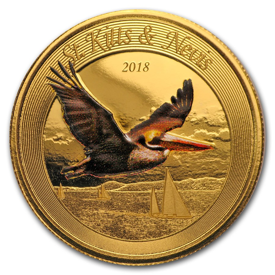 2018 St. Kitts and Nevis 1 oz Gold Pelican (Colorized)