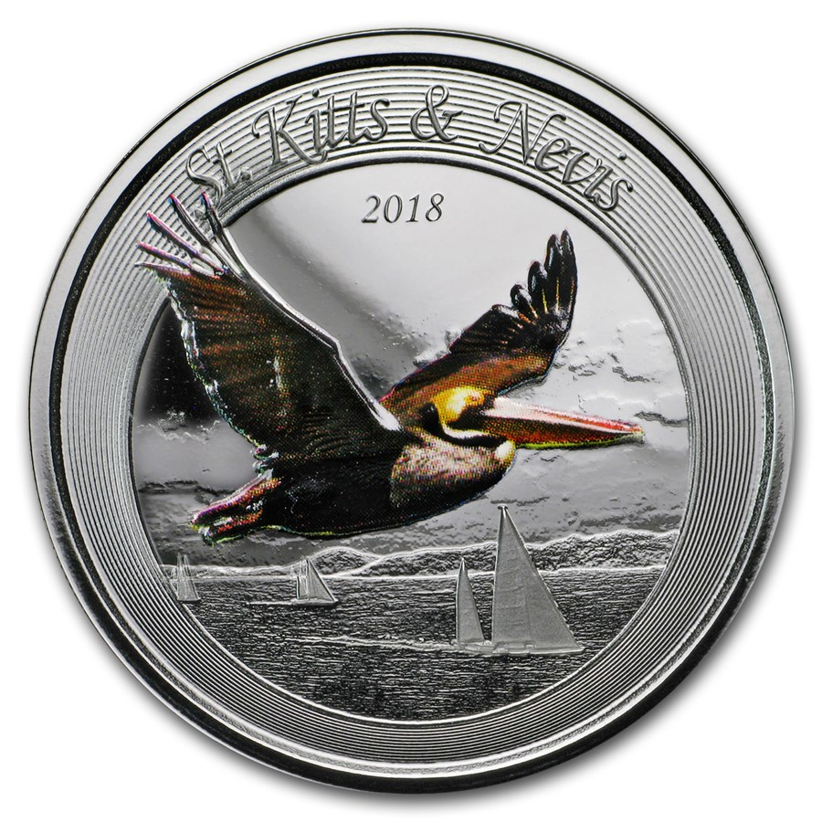 2018 St. Kitts and Nevis 1 oz Silver Pelican Proof (Colorized)