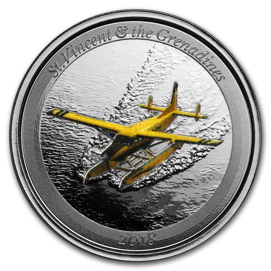 2018 St. Vincent & Grenadines 1 oz Silver Seaplane (Colorized)