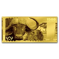 2018 Tanzania 1 gram Gold Big Five Buffalo Foil Gold Note