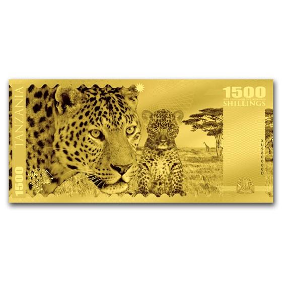2018 Tanzania 1 gram Gold Big Five Leopard Foil Gold Note
