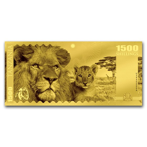 2018 Tanzania 1 gram Gold Big Five Lion Foil Gold Note