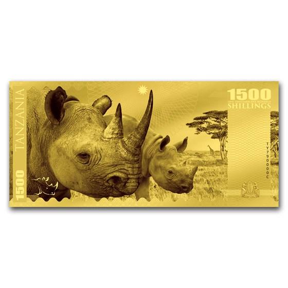 2018 Tanzania 1 gram Gold Big Five Rhino Foil Gold Note
