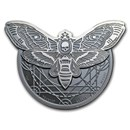2018 Tanzania 2 oz Silver Deaths Head Hawkmoth