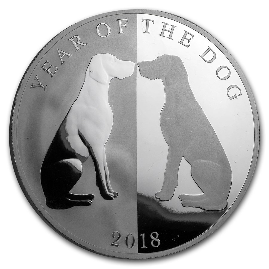 2018 Tokelau 1 oz Silver Year of the Dog Mirror Dog (Abrasion)