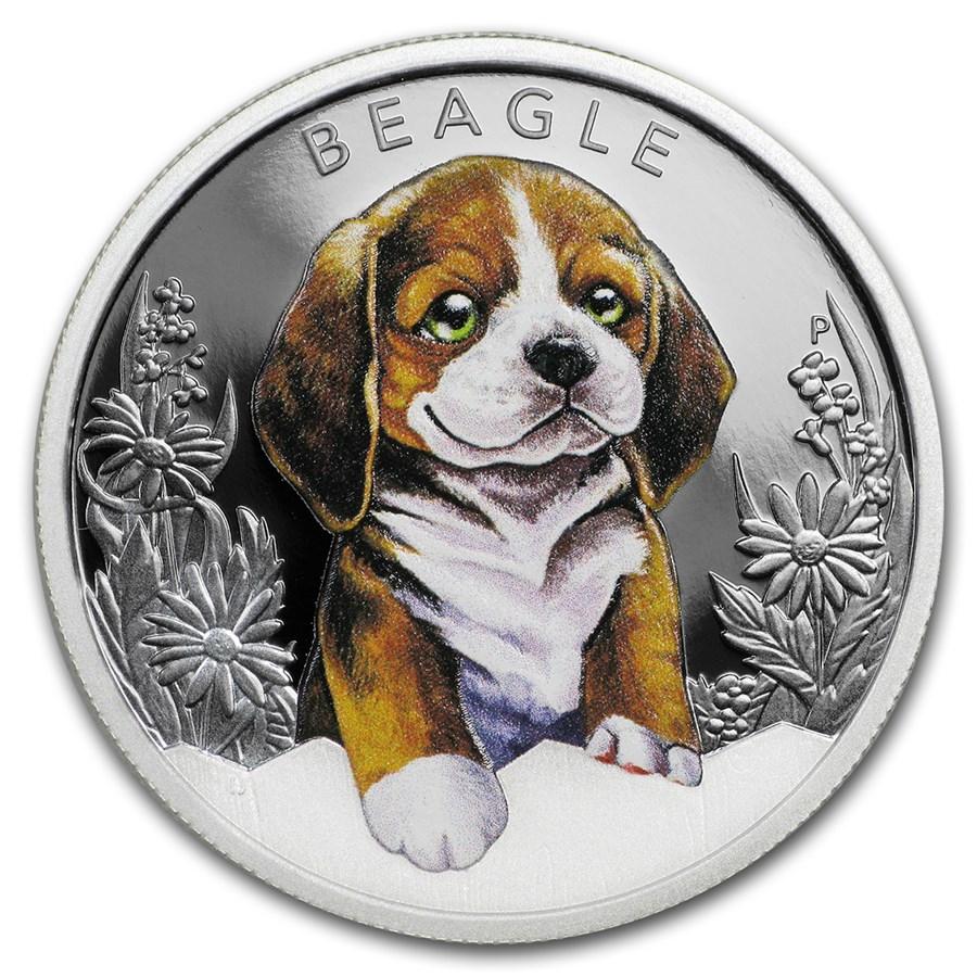 2018 Tuvalu 1/2 oz Silver Beagle Puppy Proof