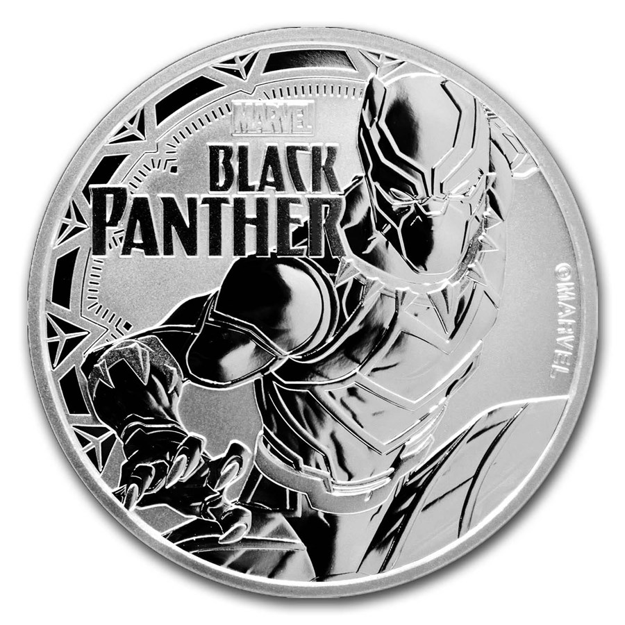 2018 Tuvalu 1 oz Silver $1 Marvel Series: Black Panther BU
