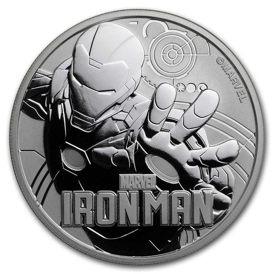 2018 Tuvalu 1 oz Silver $1 Marvel Series Iron Man BU