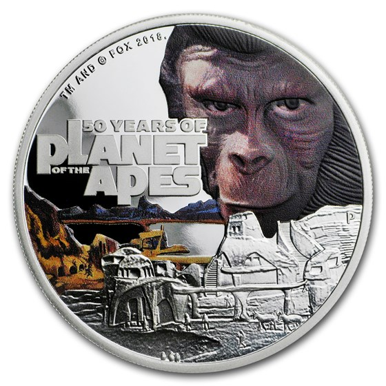 2018 Tuvalu 1 oz Silver 50th Anniv Planet of the Apes Proof