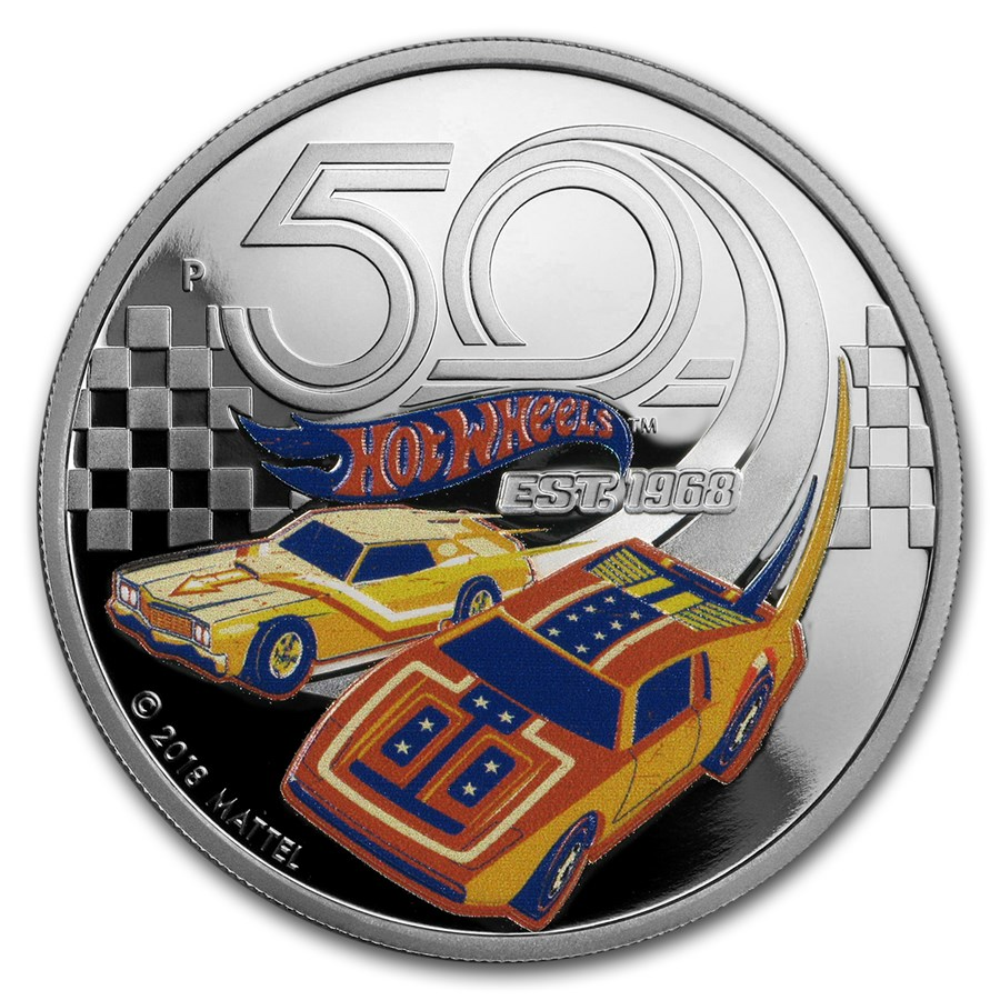 2018 Tuvalu 1 oz Silver 50th Anniversary of Hot Wheels Proof
