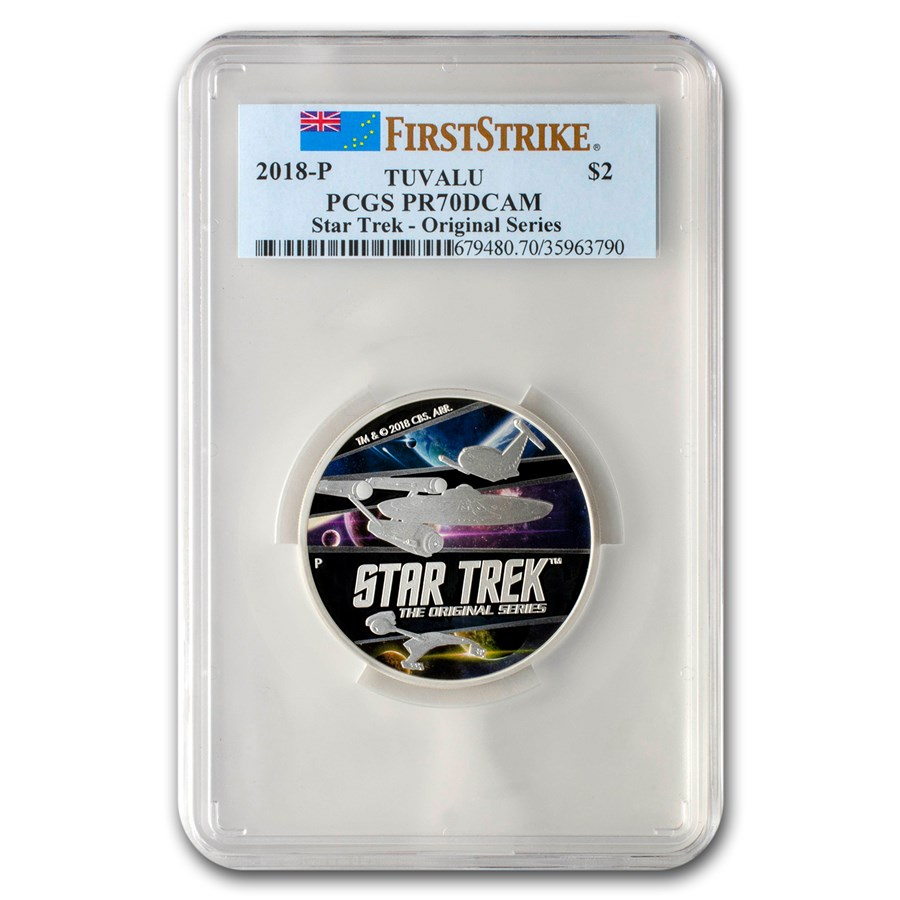 2018 Tuvalu 2 oz Ag Star Trek: Original Series PR-70 PCGS (FS)