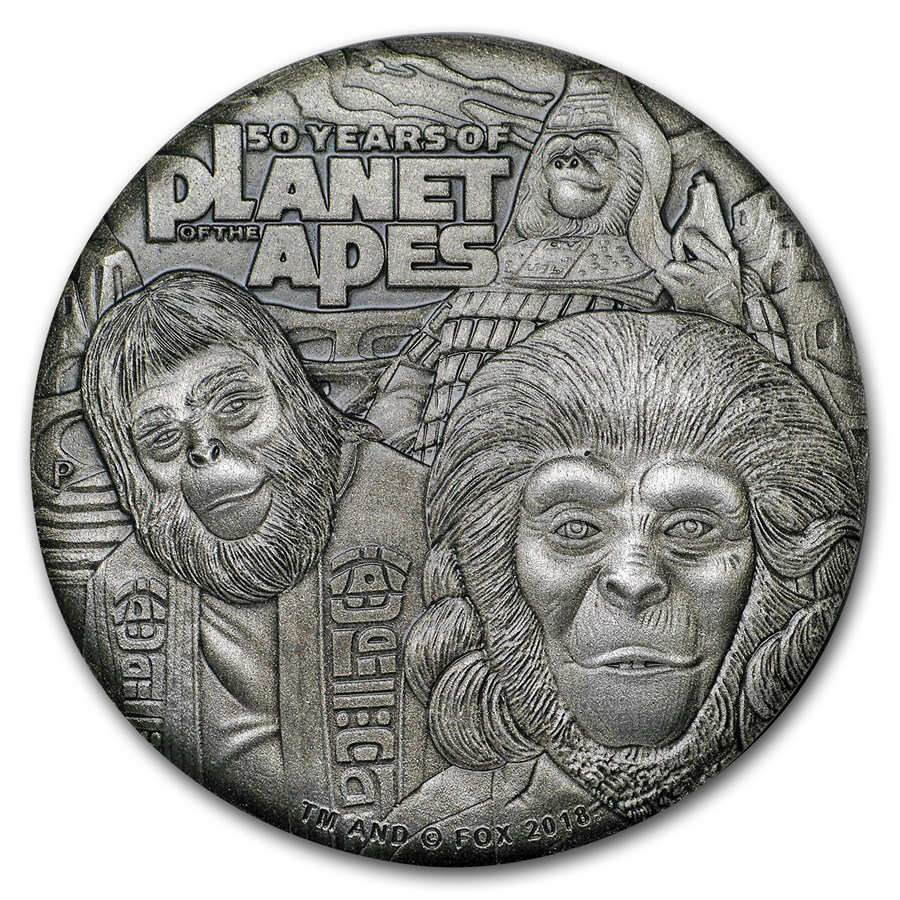 2018 Tuvalu 2 oz Silver 50th Anniv Planet of the Apes (Antiqued)