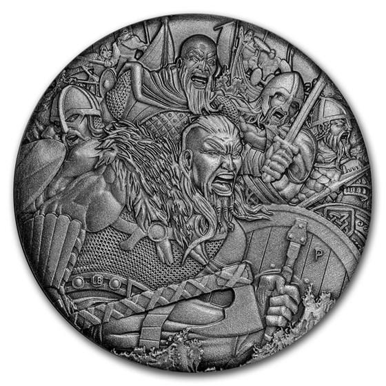 2018 Tuvalu 2 oz Silver Vikings Warfare BU (HR, Antiqued)