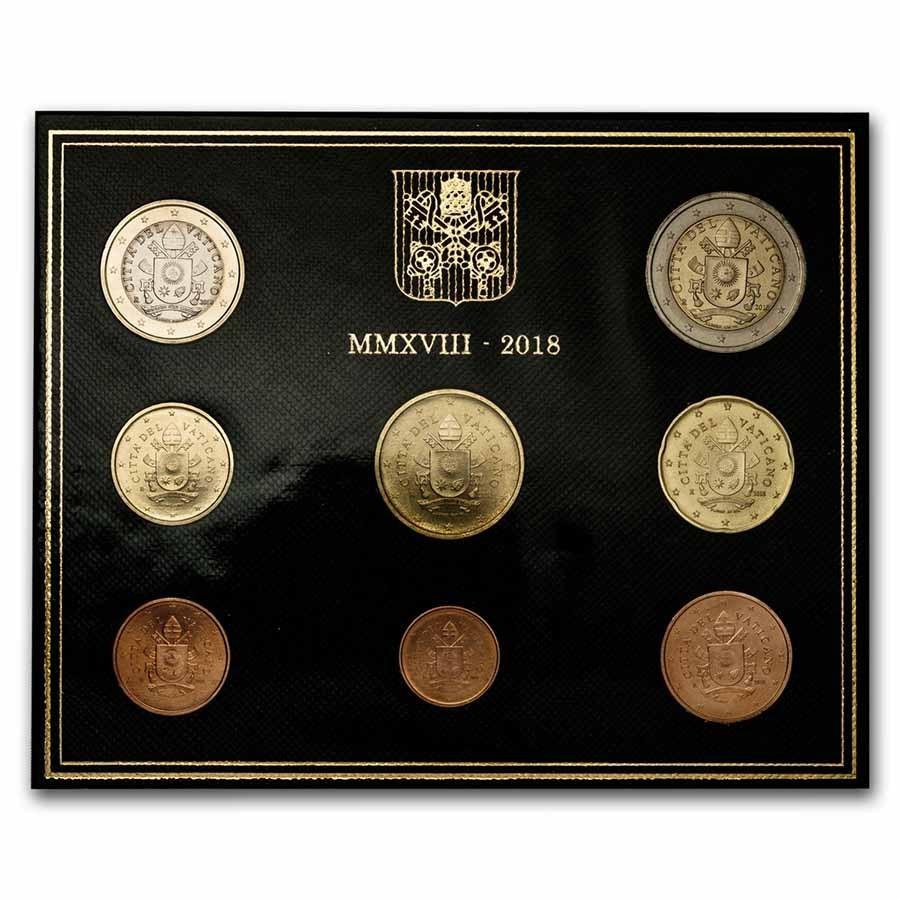 2018 Vatican City 1 Cent-2 Euro 8-Coin Euro Set BU