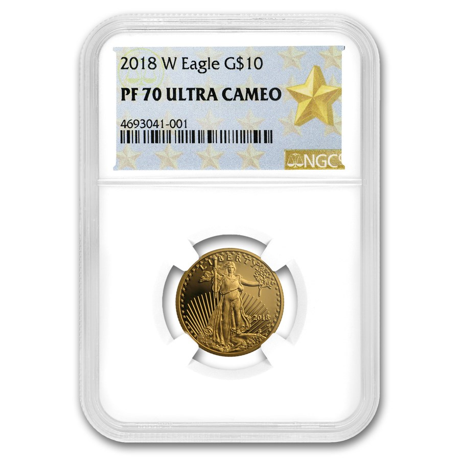 2018-W 1/4 oz Proof American Gold Eagle PF-70 NGC (Various Label)