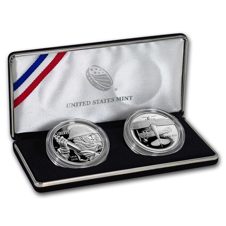 2018 World War I Centennial Silver Dollar Air Service Medal Set