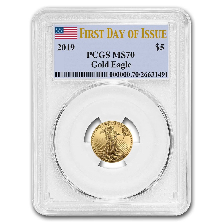 2019 1/10 oz Gold American Eagle MS-70 PCGS (First Day of Issue)