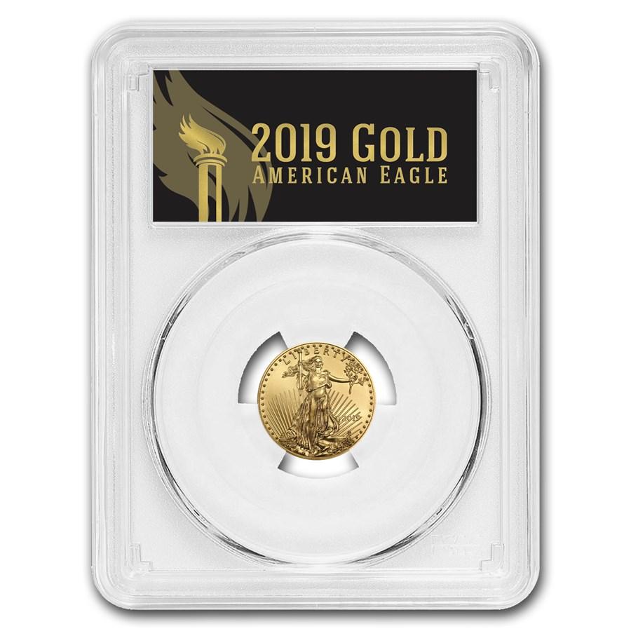 2019 1/10 oz Gold Eagle MS-70 PCGS (FirstStrike®, Black Label)
