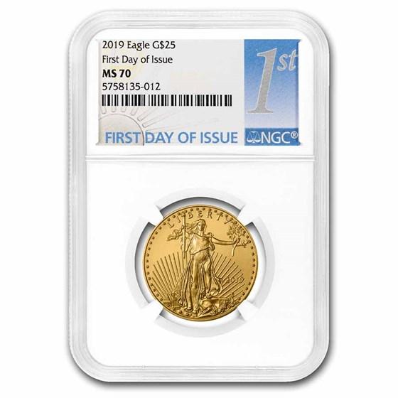2019 1/2 oz American Gold Eagle MS-70 NGC (FDI)