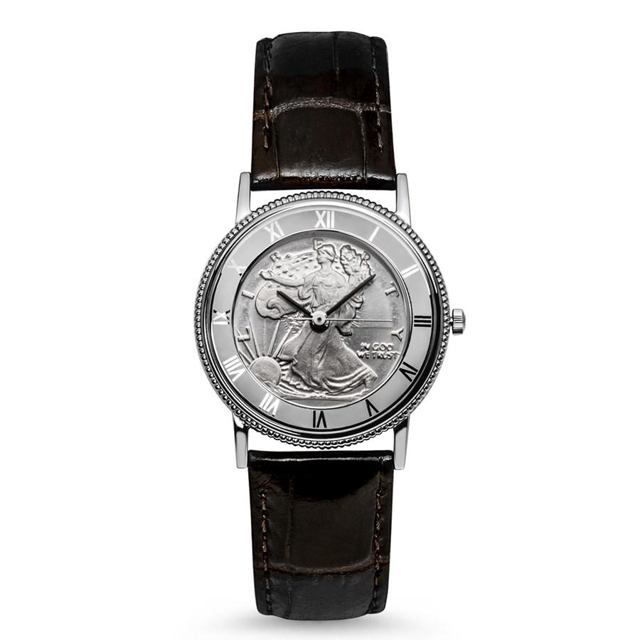 2019 1/2 oz Silver Half Dollar Walking Liberty Leather Band Watch