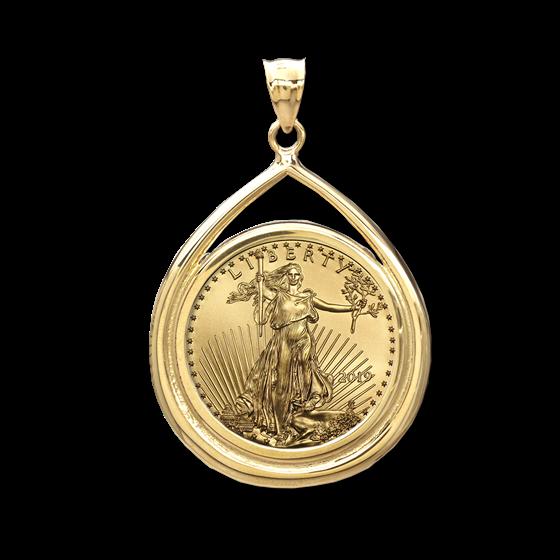 2019 1/4 oz Gold Eagle Teardrop Pendant (Prong Bezel)