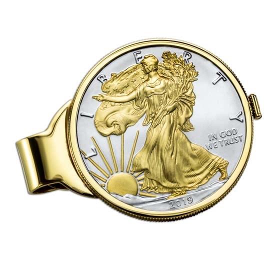 2019 1 oz Gilded Silver American Eagle Money Clip