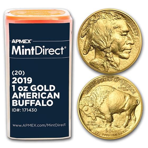 2019 1 oz Gold American Buffalo (20-Coin MintDirect® Tube)