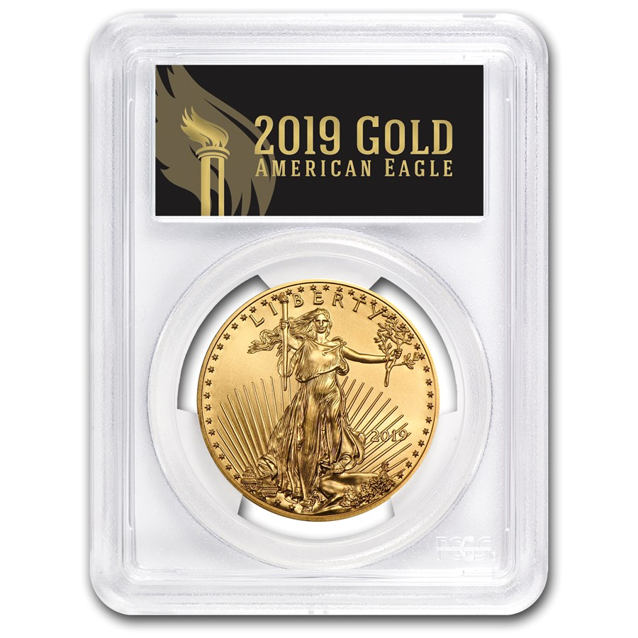 2019 1 oz Gold Eagle MS-70 PCGS (FirstStrike®, Black Label)