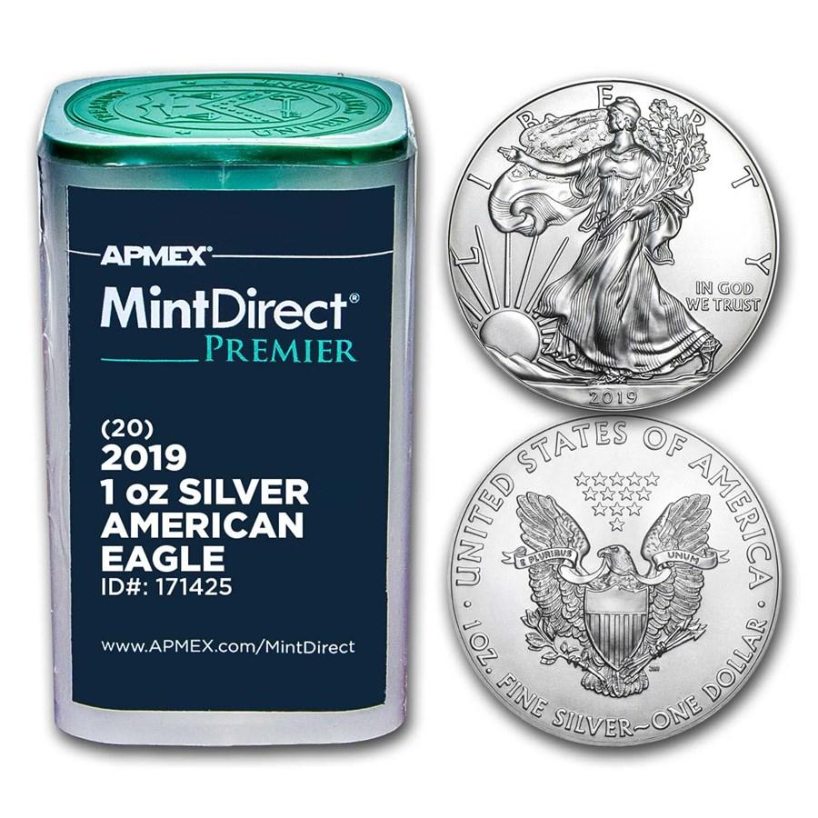 2019 1 oz Silver Eagles (20-Coin MintDirect® Premier Tube)