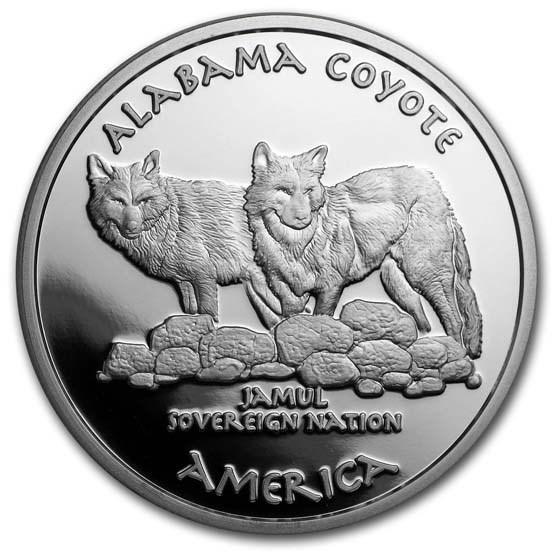 2019 1 oz Silver State Dollars Alabama Coyote