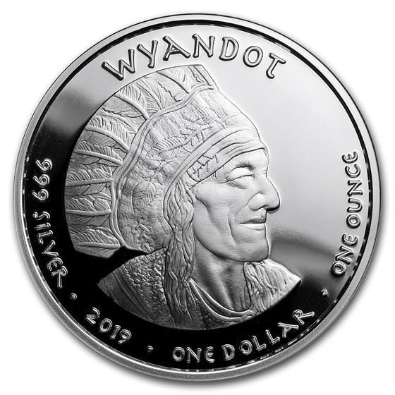 2019 1 oz Silver State Dollars Ohio Wyandot Cardinal