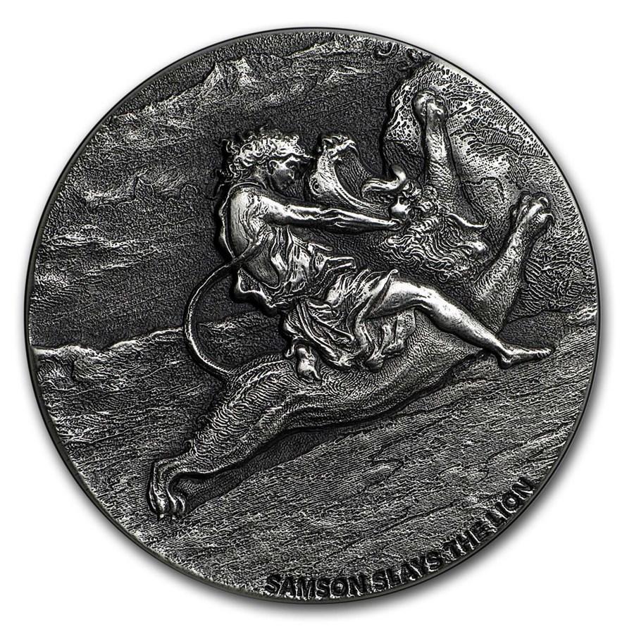 2019 2 oz Silver Coin - Biblical Series (Samson Slays the Lion)