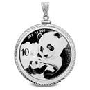 2019 30 gram Silver Panda Pendant (Diamond-ScrewTop Bezel)