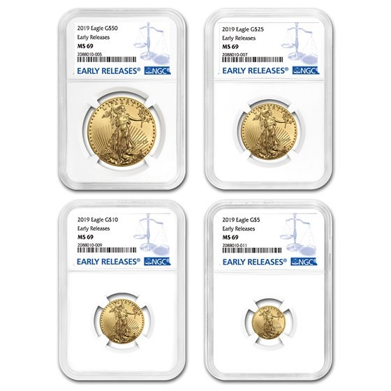 2019 4-Coin Gold American Eagle Set MS-69 NGC (Early Releases)