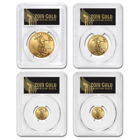 2019 4-Coin Gold Eagle Set MS-70 PCGS (First Day, Black Label)
