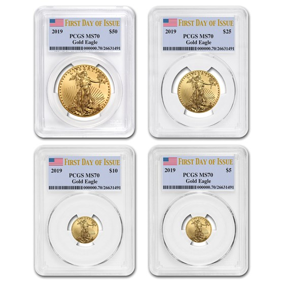 2019 4-Coin Gold Eagle Set MS-70 PCGS (First Day of Issue)