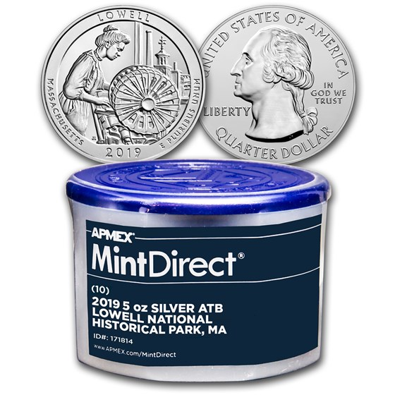 2019 5 oz Silver ATB Lowell National (10-Coin MintDirect® Tube)