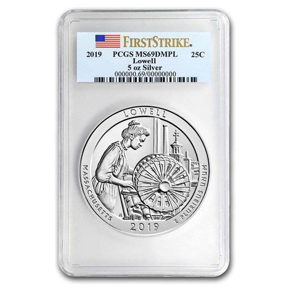 2019 5 oz Silver ATB Lowell National Park MS-69 DMPL PCGS (FS)