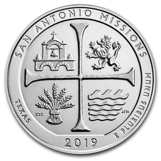 2019 5 oz Silver ATB San Antonio Missions National Hist. Park, TX