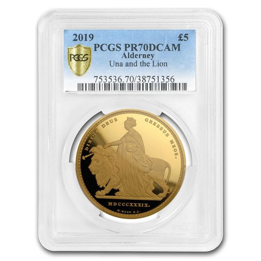 2019 Alderney 1.17 oz Gold Una & The Lion PR-70 PCGS