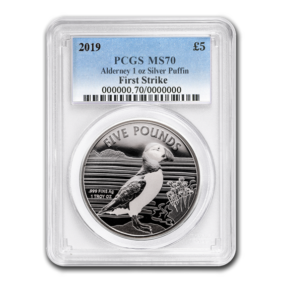 2019 Alderney 1 oz Silver Puffin MS-70 PCGS (FirstStrike®)