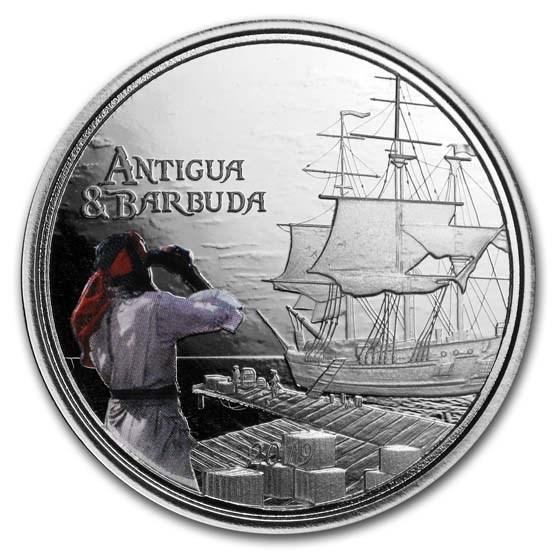 2019 Antigua & Barbuda 1 oz Silver Rum Runner Proof (Colorized)
