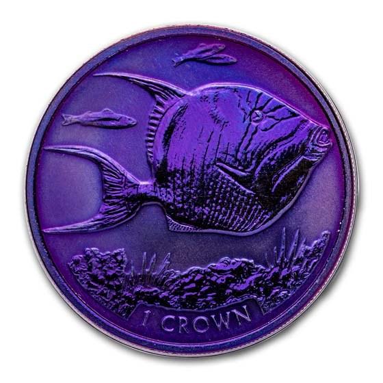 2019 Ascension Island Purple Titanium 1 Crown: Triggerfish