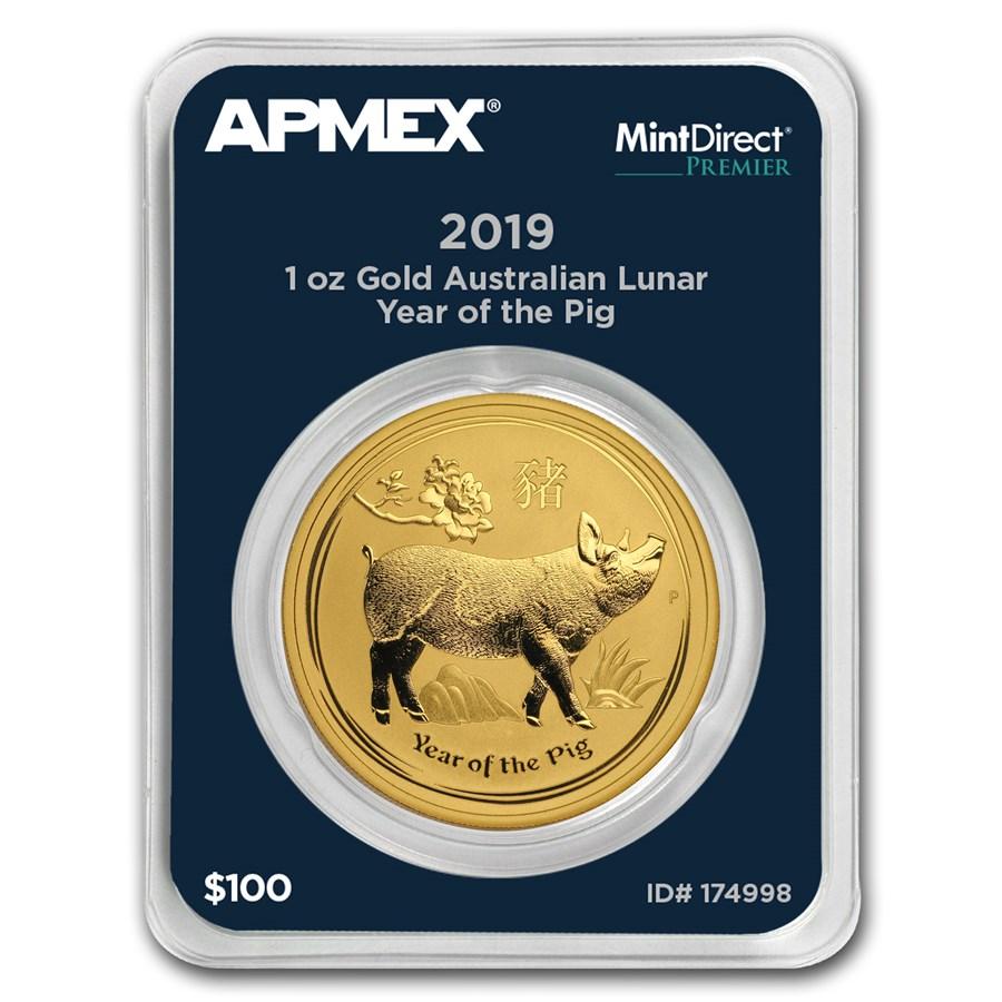 2019 AUS 1 oz Gold Lunar Year of the Pig (MintDirect® Premier)