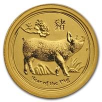 2019 Australia 1/20 oz Gold Lunar Pig BU